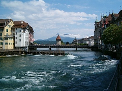Lucerne/Luzern: Chapel Bridge, Water Tower, River Reuss and Needle Weir