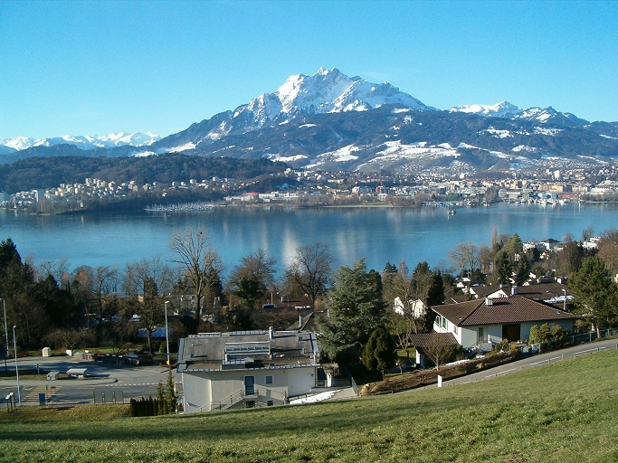 Lake Lucerne and Mount Pilatus seen from Gerlisberg