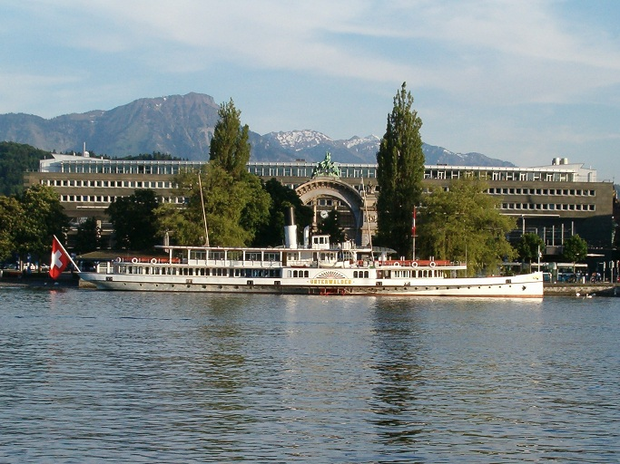 Lucerne's Central Railway Station and Steam Boat Unterwalden at the Landing Stage